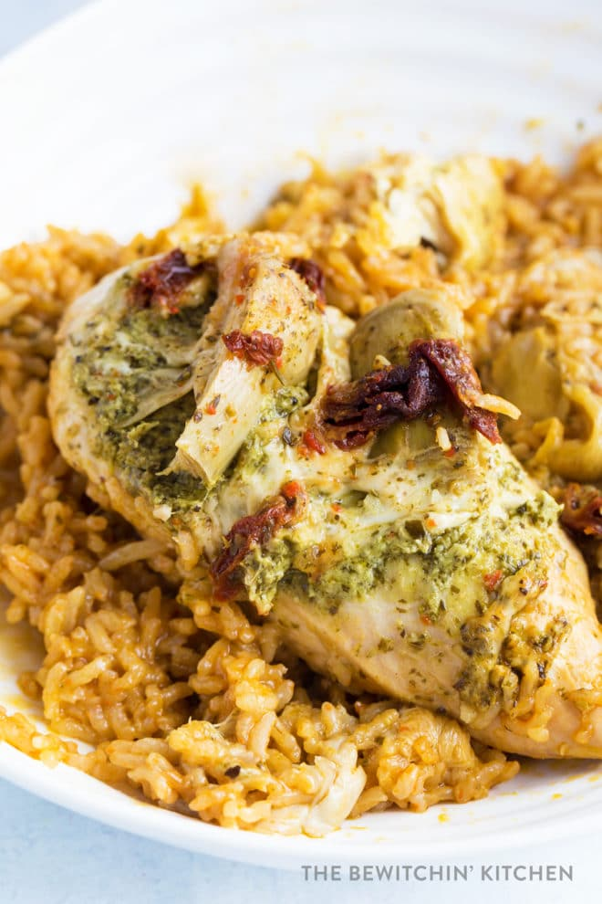 Chicken breast with pesto, sundried tomatoes, and cheese