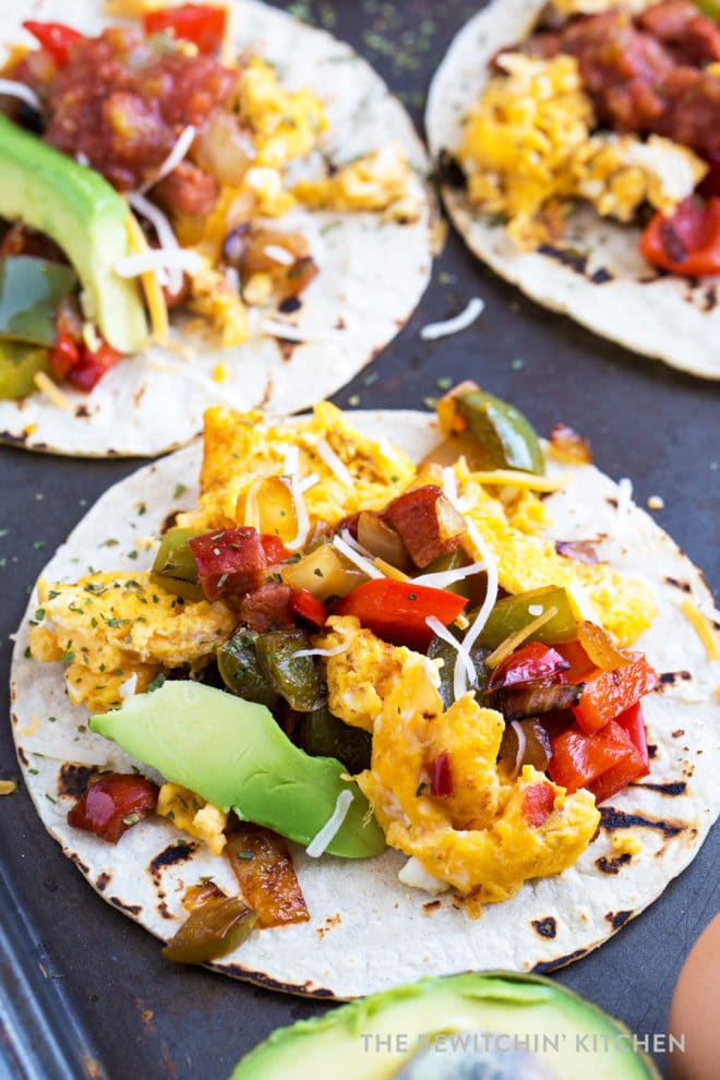 Breakfast tacos with avocado, chorizo sausage, bell peppers, onions. So fast and so easy!