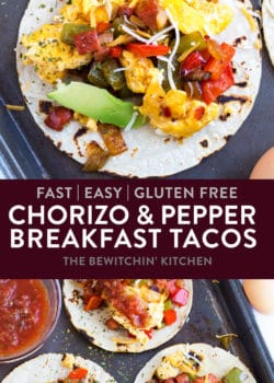 Gluten Free Chorizo and Egg Breakfast Tacos. This easy breakfast recipe combines the flavors of chorizo sausage, bell peppers, onions, eggs, with tortillas for a quick, simple, and easy breakfast or brunch. Can easily be doubled to feed a crowd!