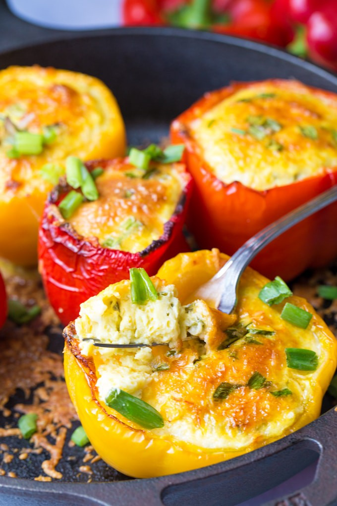 Eggs baked inside bell peppers