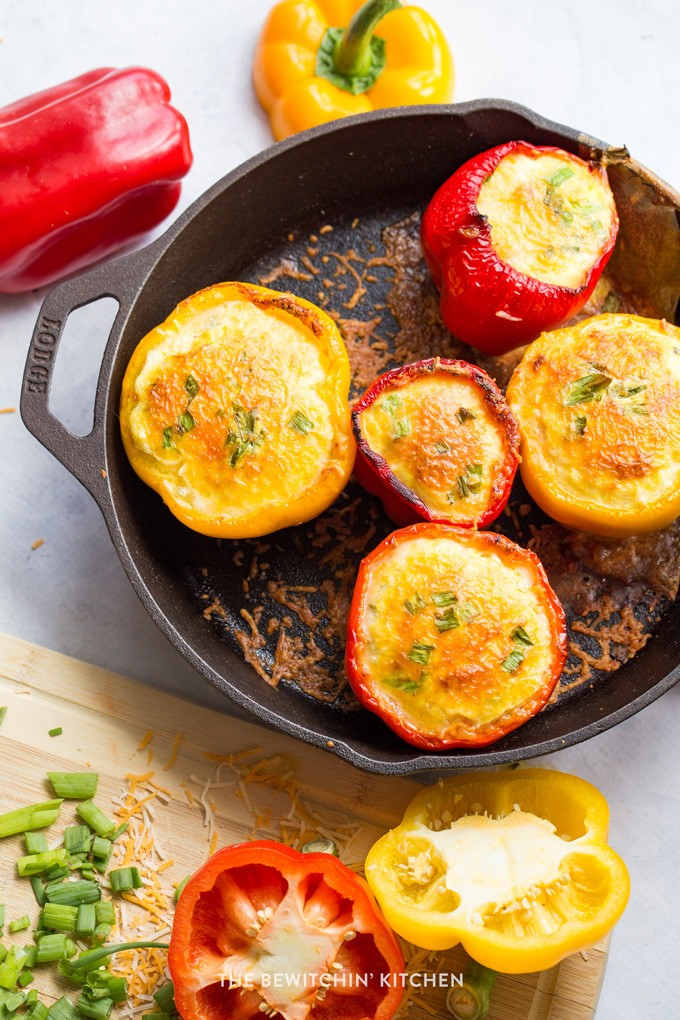 Oven baked eggs in a cast iron skillet