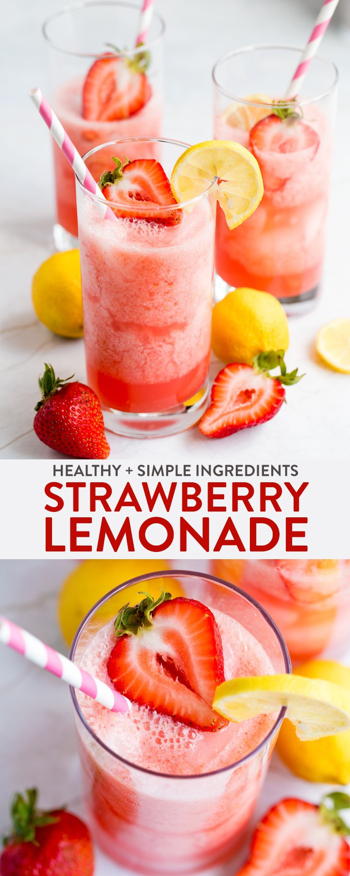This homemade strawberry lemonade recipe takes seconds to prepare and is a healthy, wholesome, and easy way to enjoy a summer drink. Whether it's a healthy drink for kids or a detox mocktail for mom, this non-alcoholic drink is for everyone.  #thebewitchinkitchen #homemadelemonade #strawberrylemonade #healthylemonade #healthydrinks #healthydrinksforkids #drinkrecipes #mocktailrecipes
