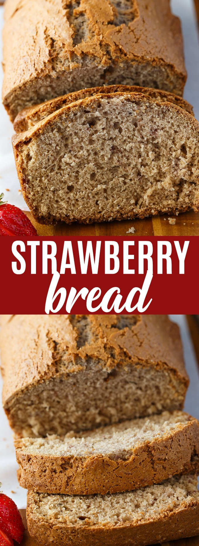 Strawberry bread - An easy dessert bread recipe using frozen strawberries and other dairy free ingredients. A sweet bread that can be baked in a loaf pan or divided into muffins. #thebewitchinkitchen #strawberrybread #sweetbread #simpledessertrecipes #dessertrecipes #dessertbread #easyrecipes #strawberrymuffins #strawberrydessertrecipes