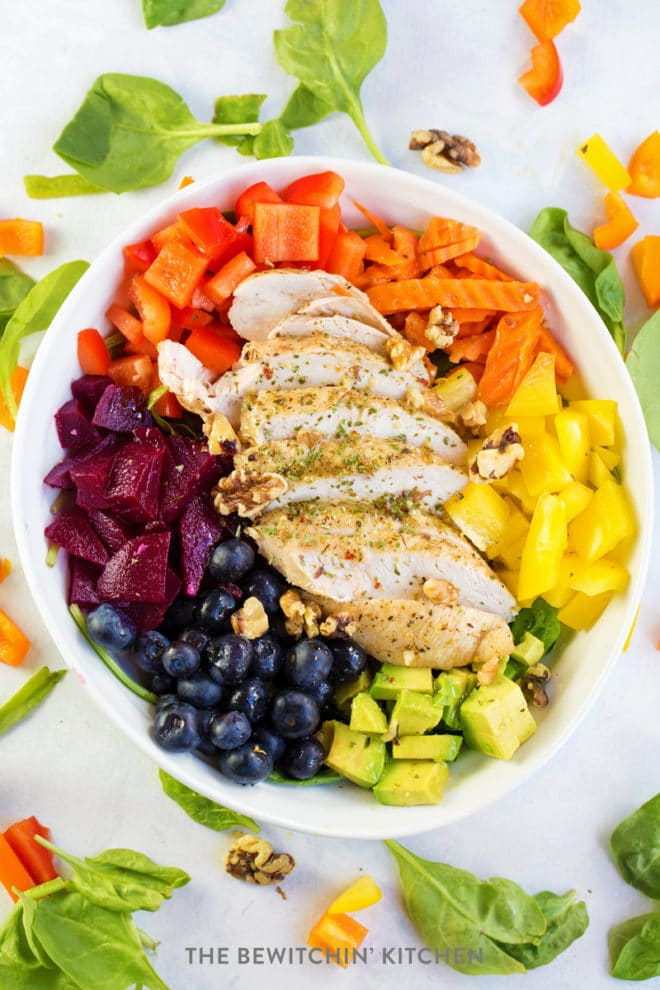 how to make chicken rainbow salad