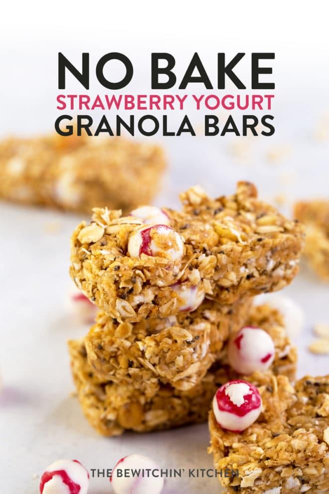 no bake strawberry granola bars