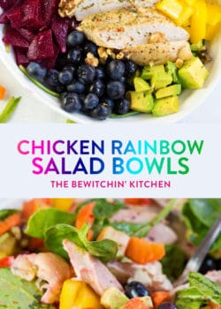 This easy chicken rainbow salad recipe uses colorful bell peppers, avocado, chicken breast, blueberries, beets (or purple cabbage) and dressed with a key lime vinaigrette. Veggies and fruit make this yummy summer salad a healthy, paleo, and gluten free dinner. Meal prep the chicken to make this a quick and nutritious lunch for work!
