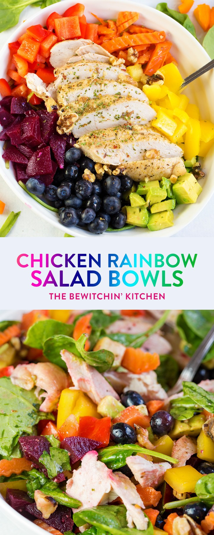 This easy chicken rainbow salad recipe uses colorful bell peppers, avocado, chicken breast, blueberries, beets (or purple cabbage) and dressed with a key lime vinaigrette. Veggies and fruit make this yummy summer salad a healthy, paleo, and gluten free dinner. Meal prep the chicken to make this a quick and nutritious lunch for work! #ad #thebewitchinkitchen #summersalads #chickenrainbowsalad #rainbowrecipes #healthychickenrecipes #chickenbreastrecipes #chickendotca #dinnerrecipes #lunchrecipes #lunchrecipesforwork #liift4recipes #21dayfixrecipes #portionfix