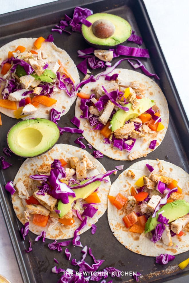 Easy chicken tacos that look like a rainbow