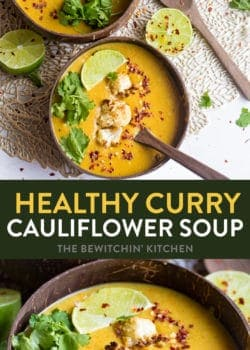 This healthy curry cauliflower soup checks all the boxes. Healthy, easy, and is a low carb favorite. Using coconut milk, roasted cauliflower, collagen peptides, bone both, curry, and a few other veggies this gluten free recipe is filling.