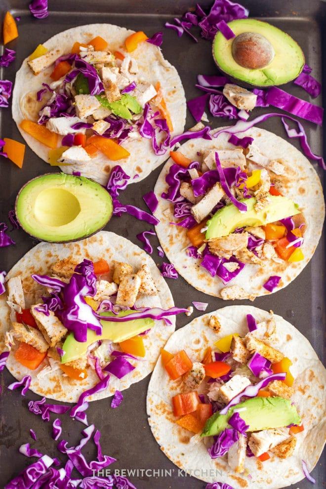 Rainbow chicken tacos