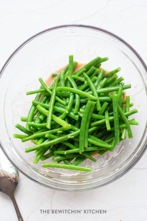 Marinating green beans