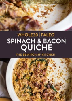 Paleo spinach and bacon quiche