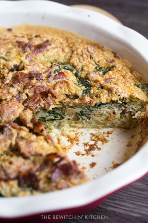 Spinach and Bacon quiche side shot