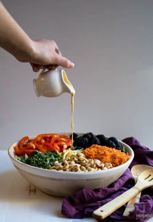 Creamy cashew dressing lunch bowl
