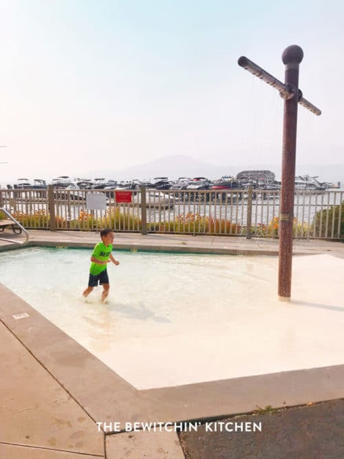 Kid playing at a waterpark at a Kelowna Resort
