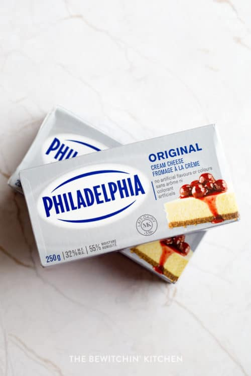 Overhead shot of Philadelphia cream cheese package