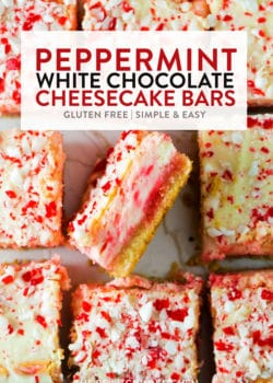 Peppermint white chocolate cheesecake bars