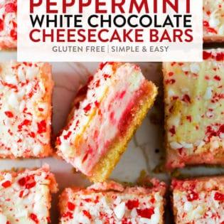 Peppermint white chocolate cheesecake bars