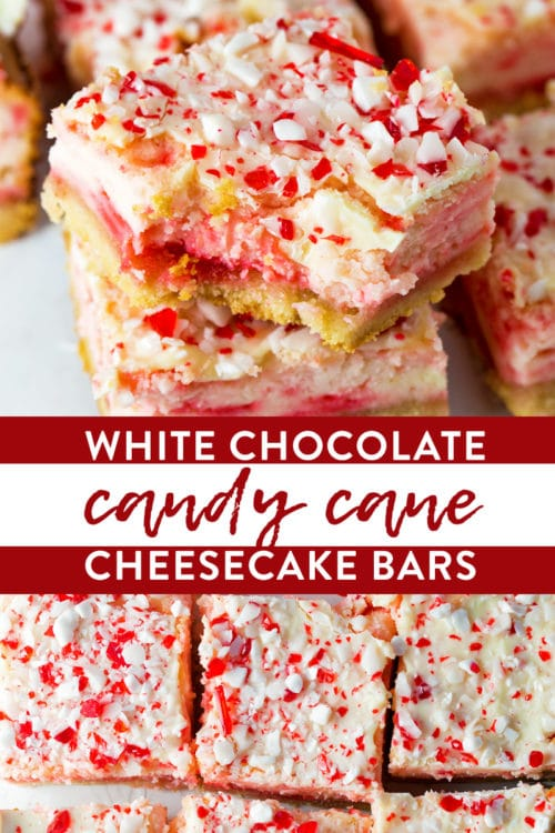 Candy cane white chocolate cheesecake bars recipe