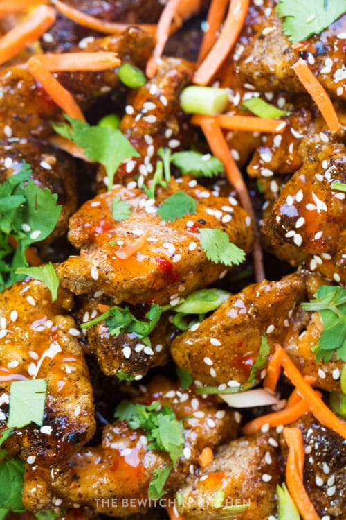 Close up shot of a gluten free chicken appetizer garnished with shredded carrots, cilantro, and sesame seeds.