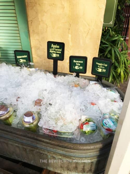 Healthy snacks in a cart at Disneyland