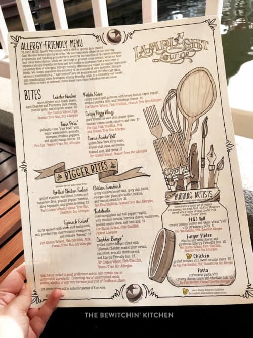 Lamplight Lounge Gluten Free Menu at Disneyland