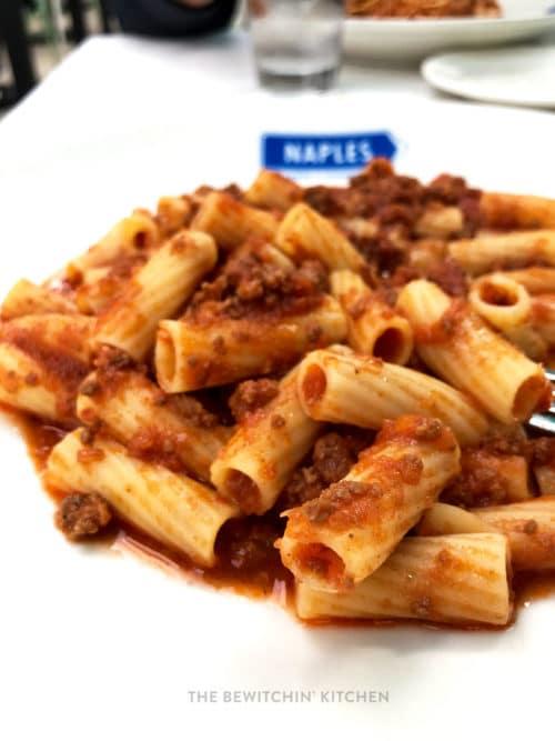 Gluten free pasta from Naples restaurant in Downtown Disney
