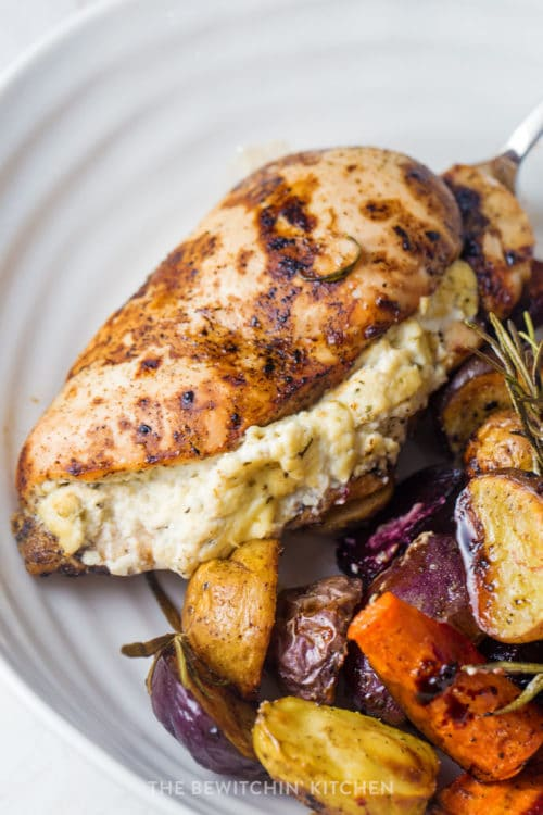Sheet Pan Stuffed Chicken Breasts With Roasted Root