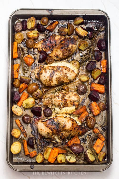One pan chicken dinner - easy, healthy and delicious.