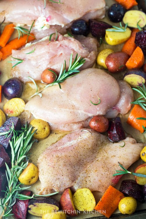 Sheet pan chicken with rosemary, potatoes, carrots, and beets