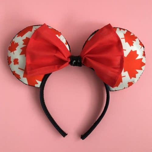Minnie Mouse Headband with Canadian Maple Leaf Mouse Ears