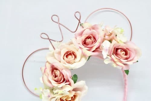 Feminine wire floral mouse ears headband