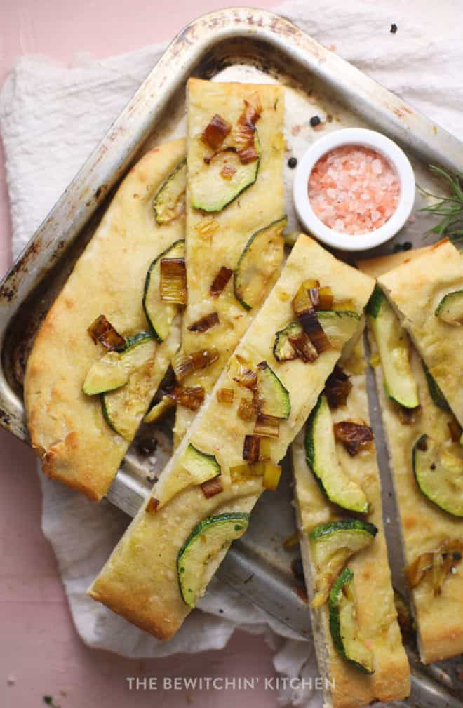 easy homemade and healthy focaccia bread recipe with caramelized leeks and zucchini