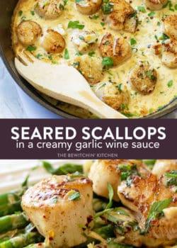 seared scallops in a creamy garlic wine sauce