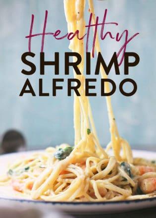 healthy and creamy shrimp alfredo