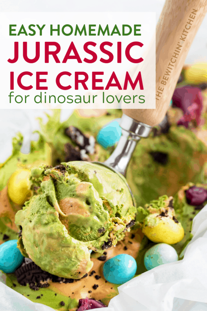 dinosaur ice cream being scooped out with an ice cream scoop
