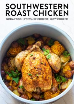 southwestern roast chicken dinner in a Ninja Foodi