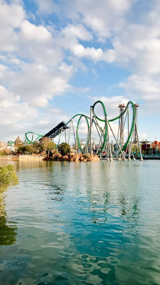 hulk rollercoaster in distance at Universal Orlando
