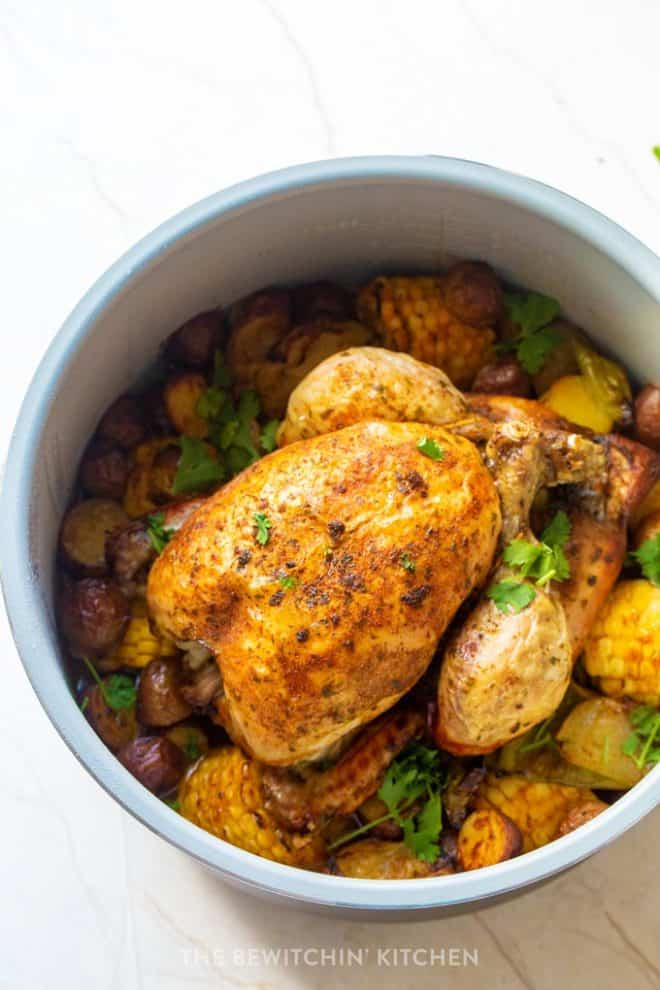 easy roast chicken dinner in Ninja Foodi