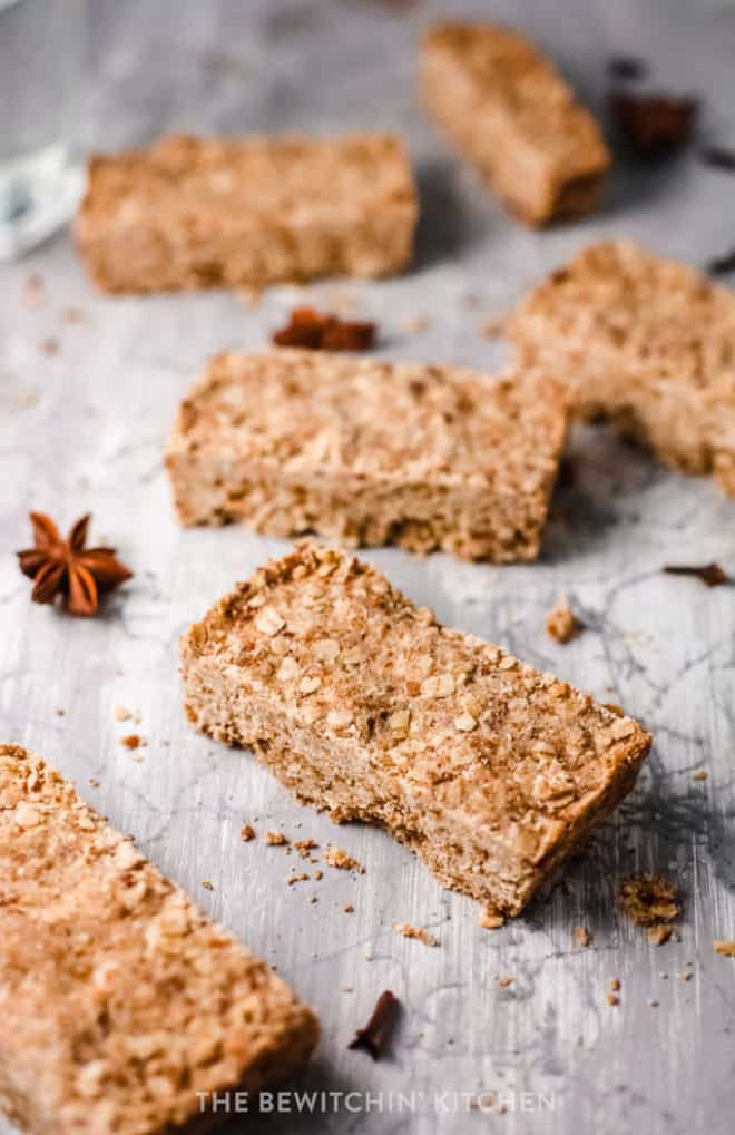 oat bars on a grey background