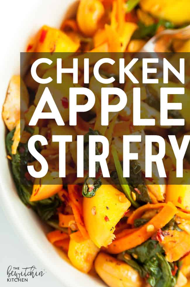 chicken apple stir fry with text overlay