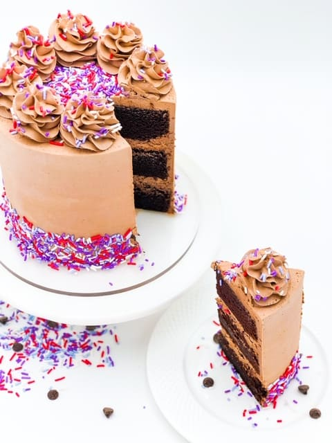 a slice of moist chocolate cake with chocolate buttercream frosting with purple sprinkle pop sprinkles