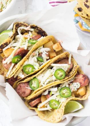 chicken apple sausage tacos