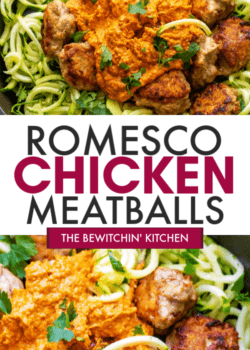 romesco chicken meatballs with zoodles