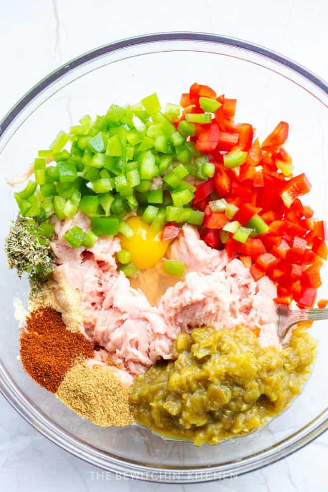 mexican meatloaf ingredients in a mixing bowl