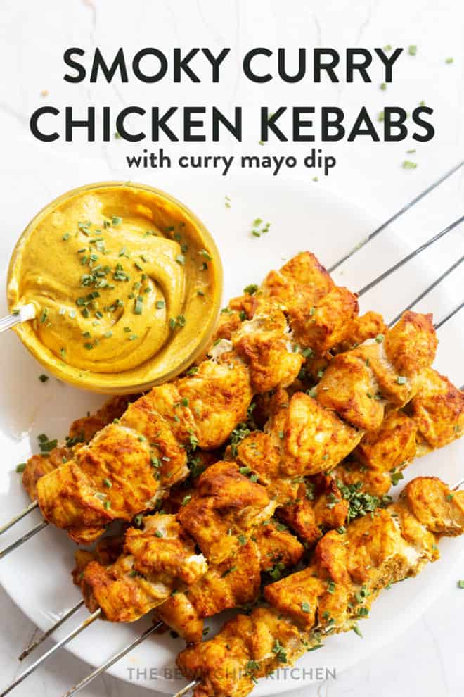 smoky chicken kebabs with a curry mayo dip