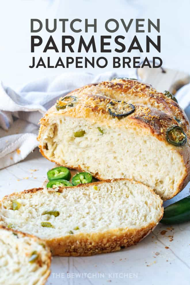 parmesan jalapeno bread recipe that's no knead and baked in a dutch oven