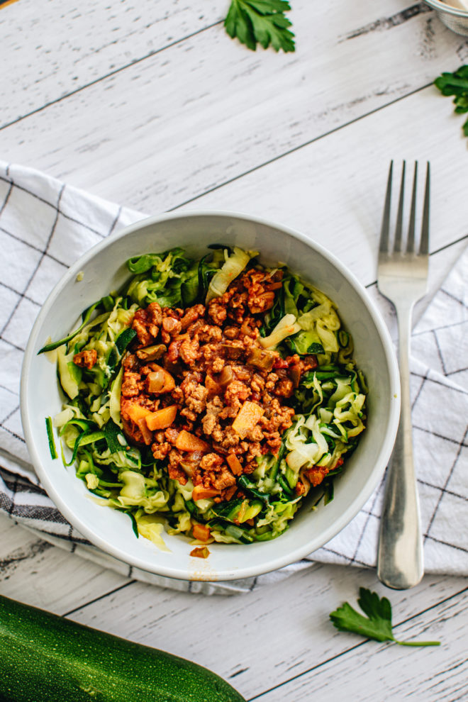 Vegan Zucchini Noodles with Bolognese